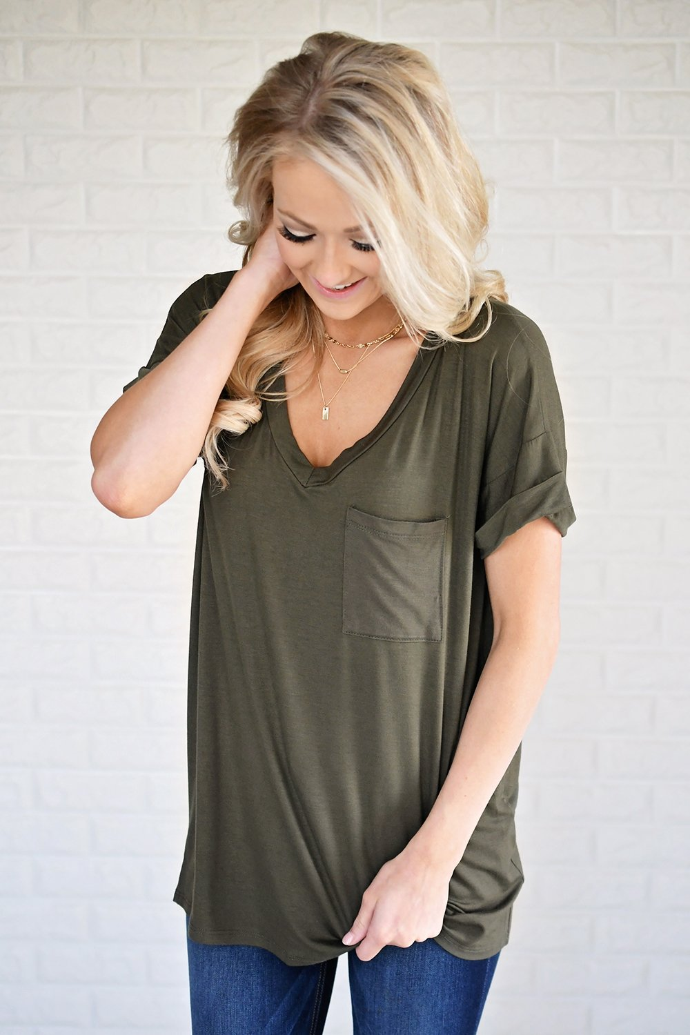 Olive V-Neck Pocket Tee