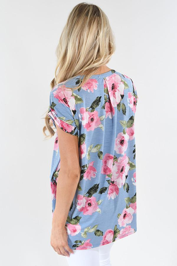 Floral Dreams Pink & Blue Top