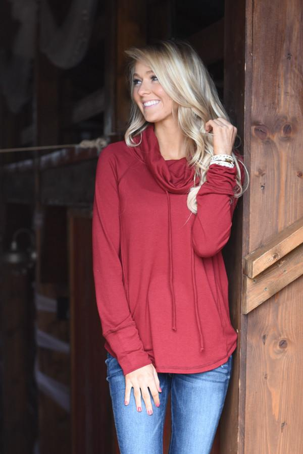 Between You & Me Cowl Neck Top - Burgundy