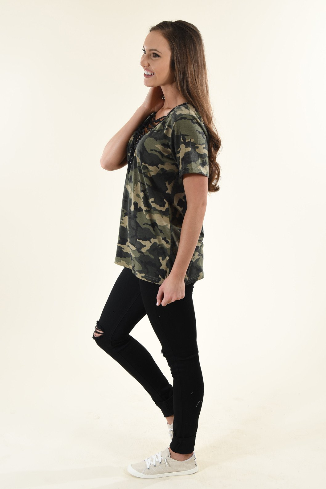 Camo Lace Up Top