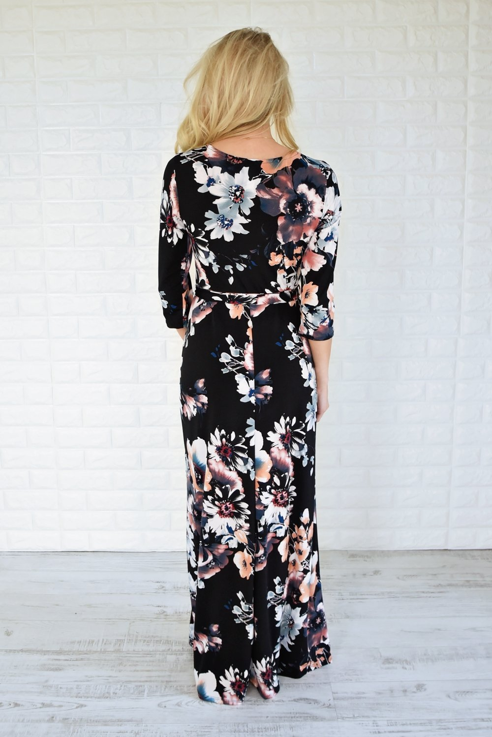3/4 Sleeve Black Floral Maxi Dress
