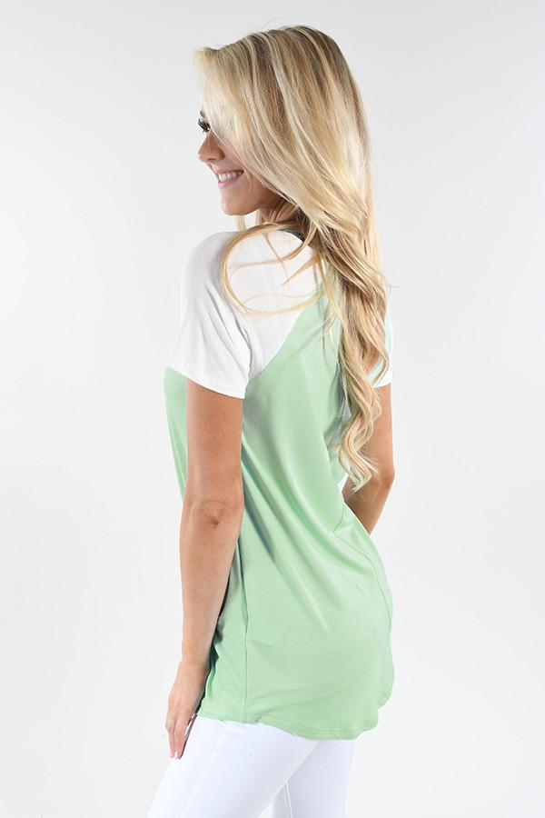 Mint and Grey Collar Top