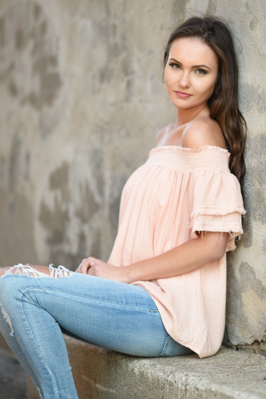 Peach Off The Shoulder Ruffle Top