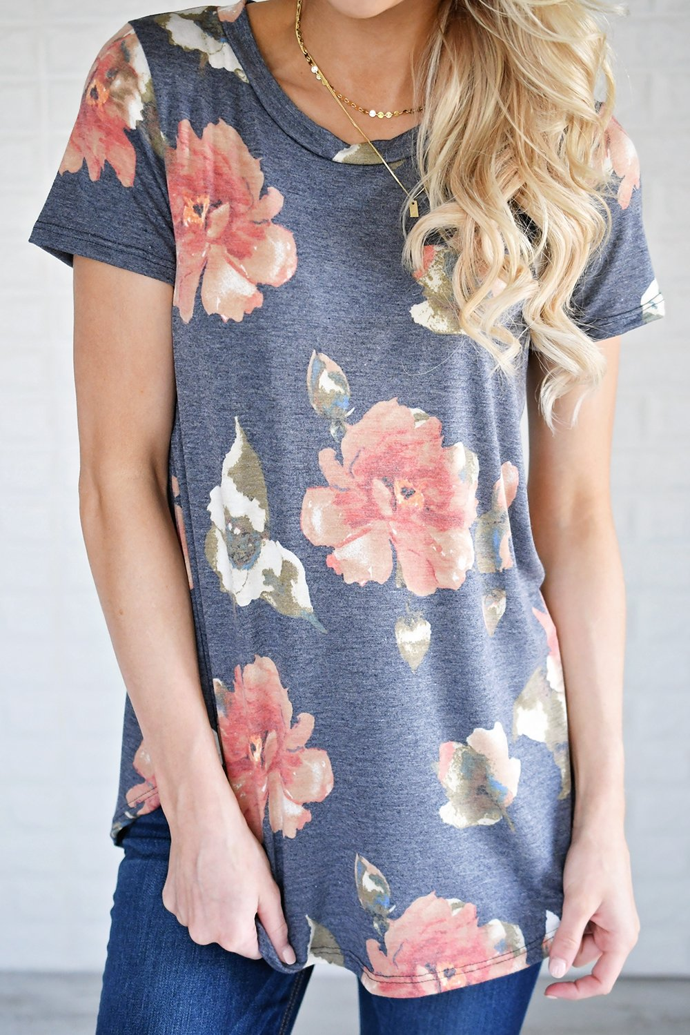 Navy Spiced Floral Top