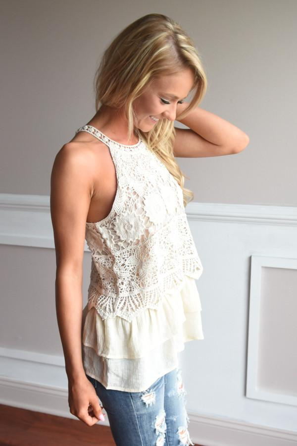Ruffle My Feathers Crochet Tank