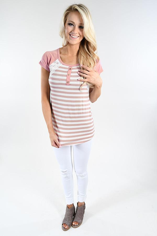 Mauve Stripes & Lace Top