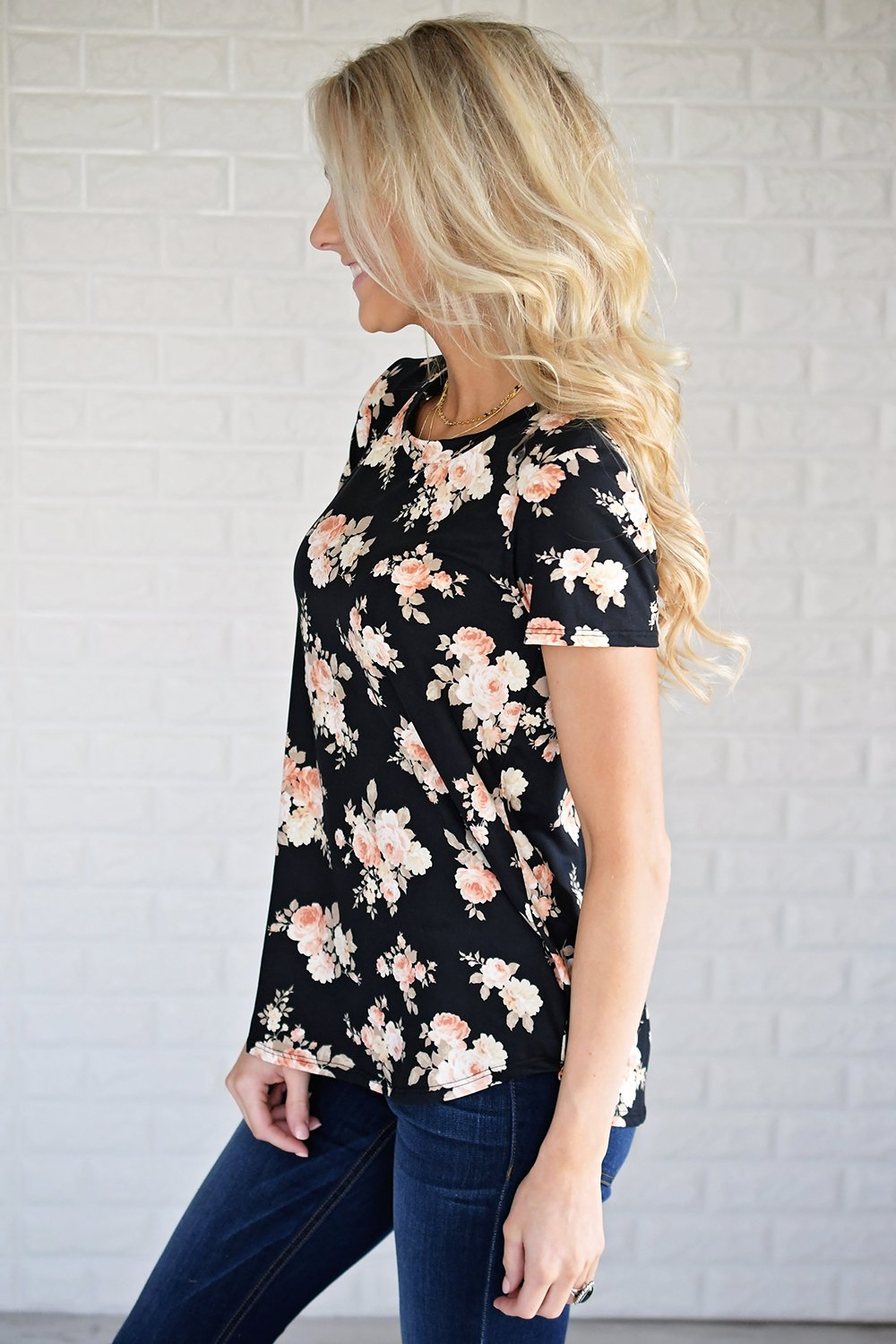 Pulse Ampersand Fall Floral Tee - Black