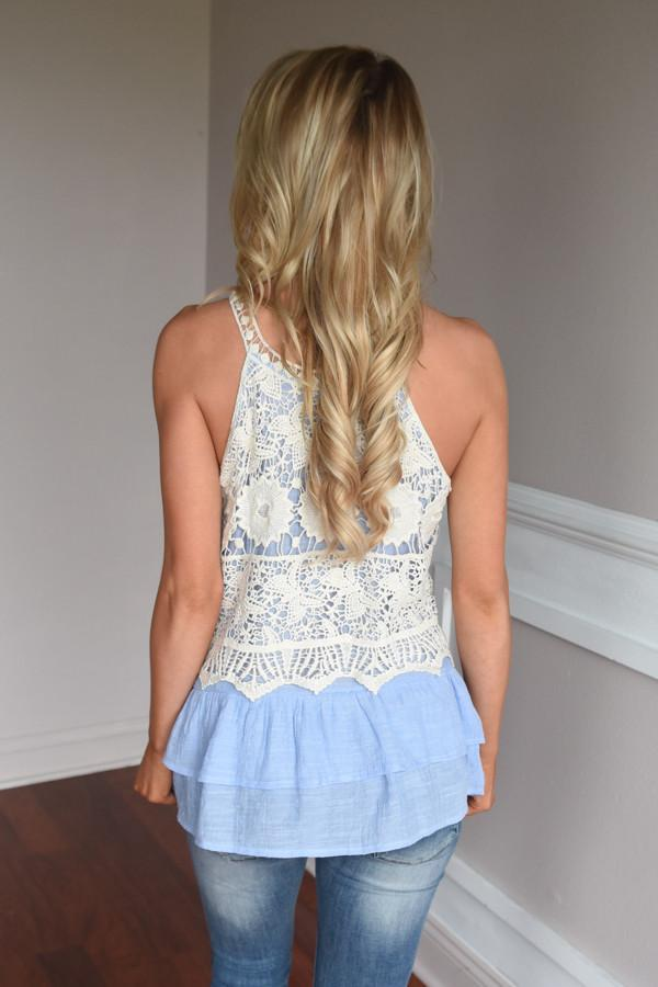 Ruffle My Feathers Crochet Tank ~ Blue