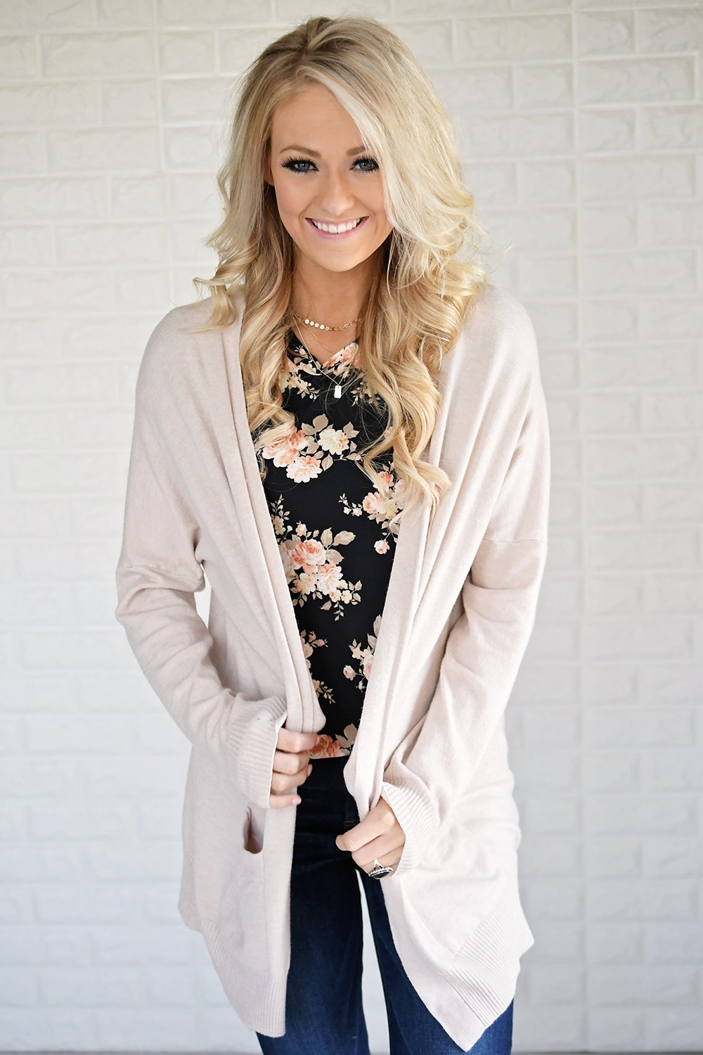 Cream V-Back Cardigan