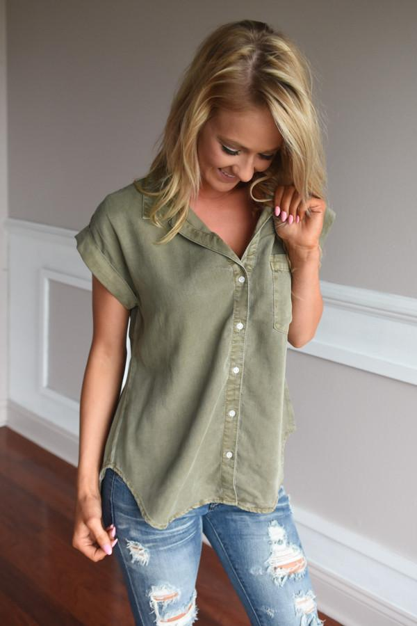 Just a Glance Olive Button Up Top