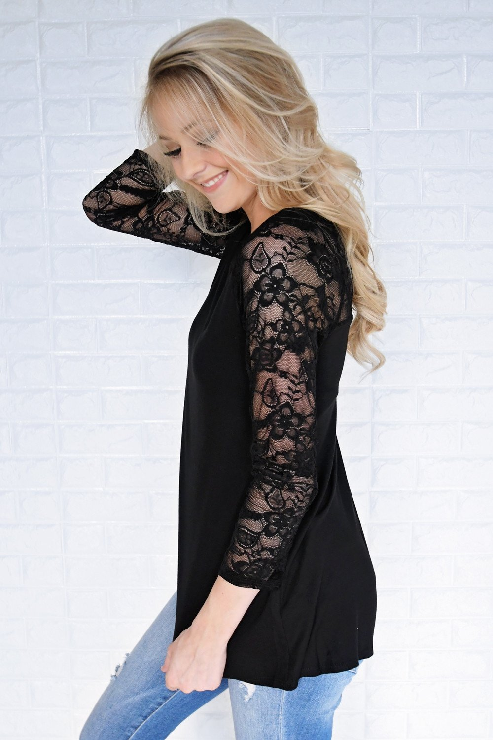 She's a Charmer Black Lace Sleeve Top