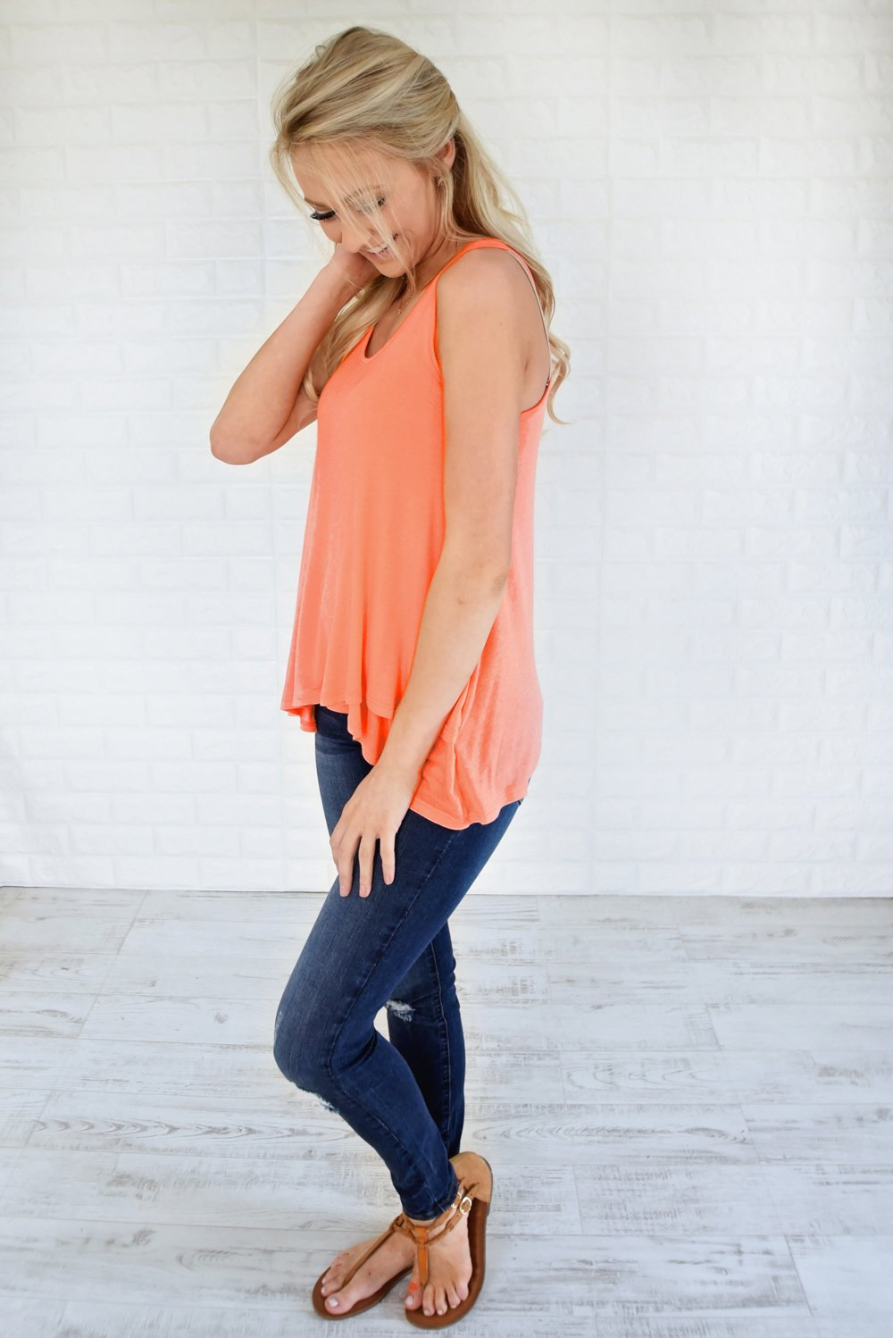 Wander On Tank Top ~ Coral