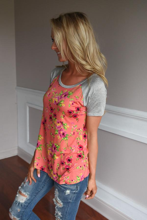 Coral Floral Top