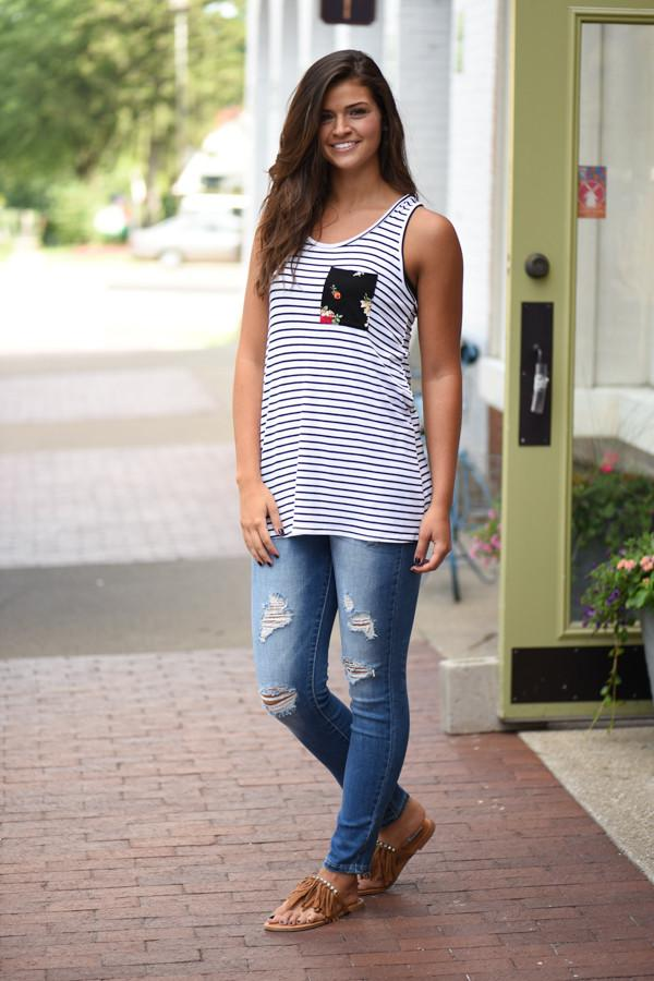 Striped Floral Bow Tank ~ Ivory