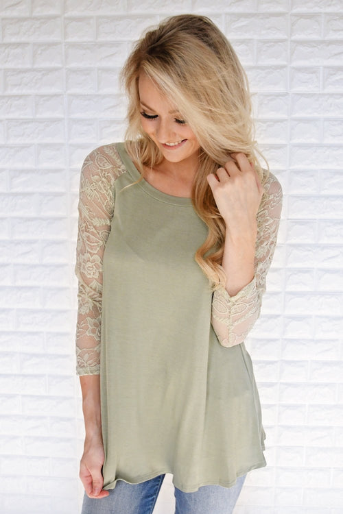 She's a Charmer Olive Lace Sleeve Top