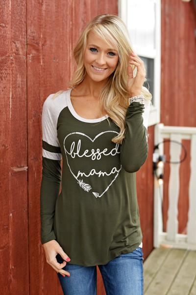 Blessed Mama Tee - Olive