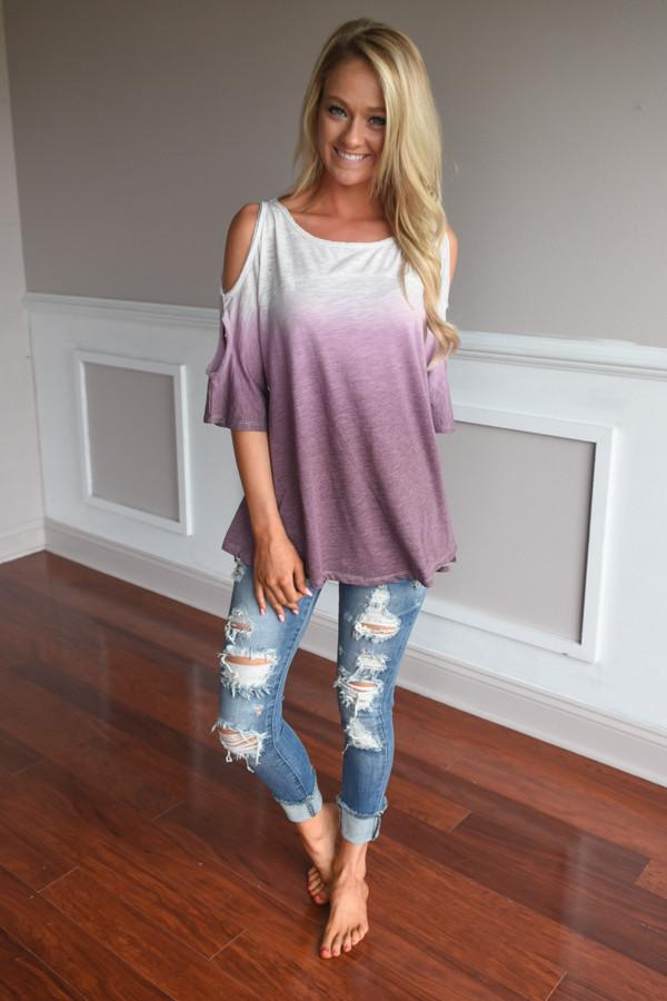 Two Tone Ombre Top ~ Purple
