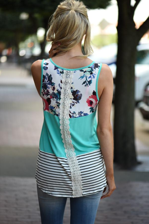 Don't Let Me Down Floral Tank ~ Teal