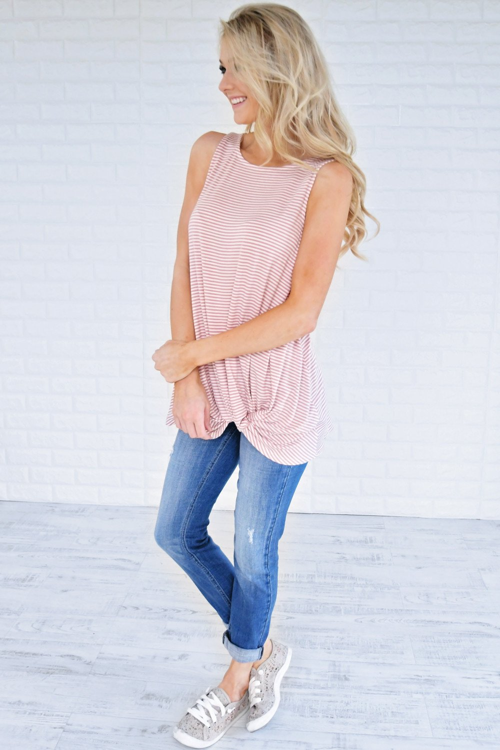 So Knotty Mauve Striped Tank Top