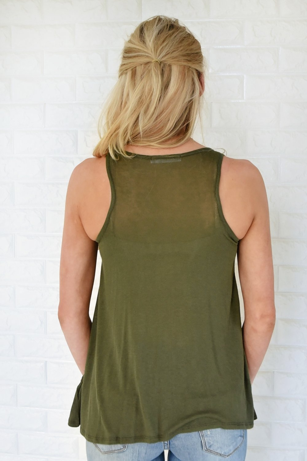 Wander On Tank Top ~ Olive