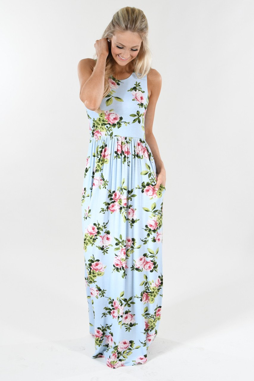 Love is Blue Floral Maxi Dress