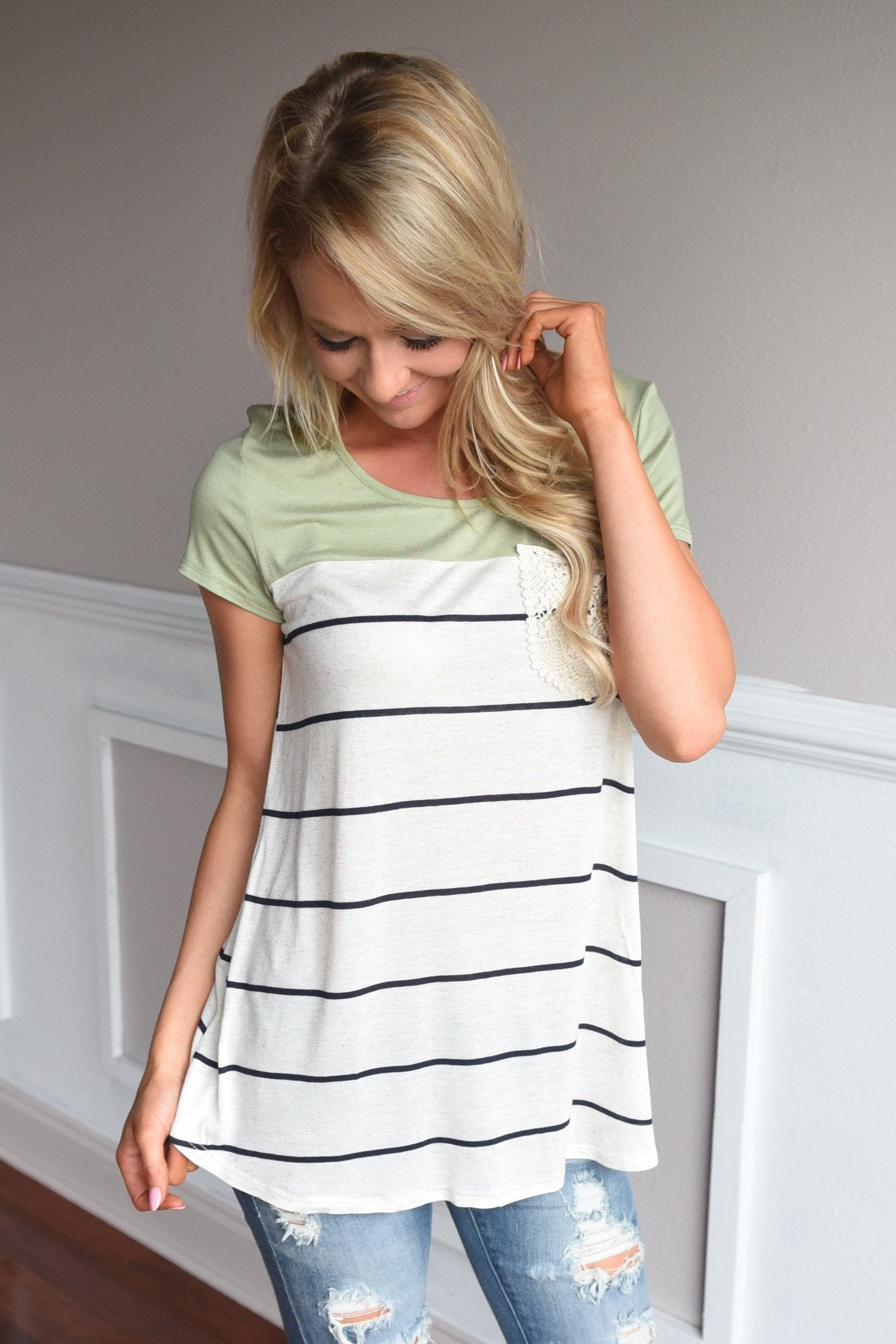 Soft and Sweet Top ~ Light Olive