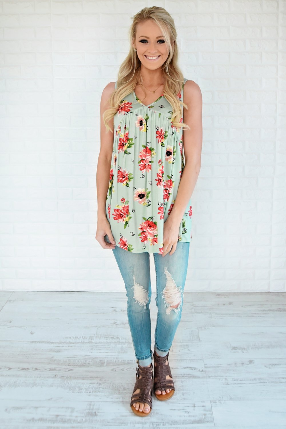 Runaway Love Babydoll Tank Top ~ Mint