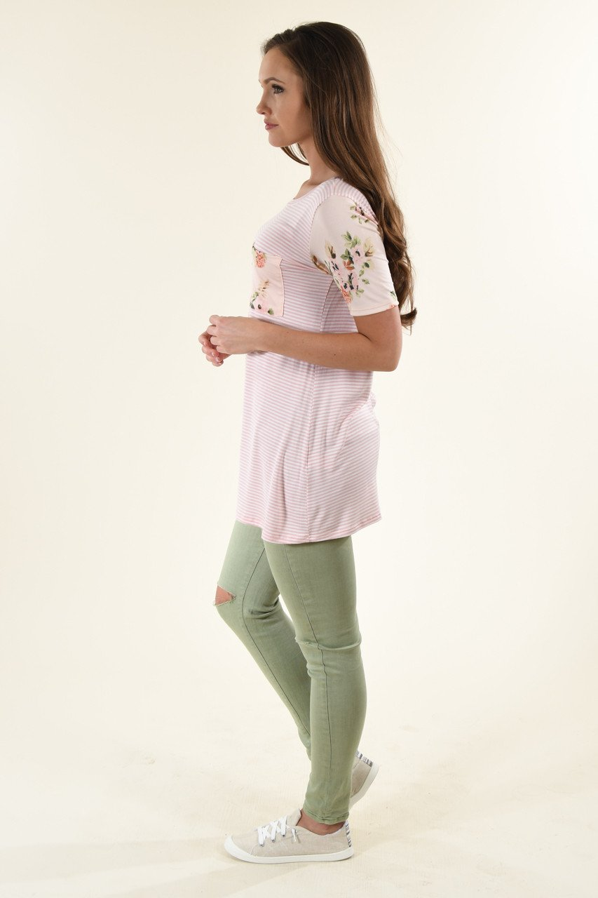 Peach & Pink Floral Pocket Top