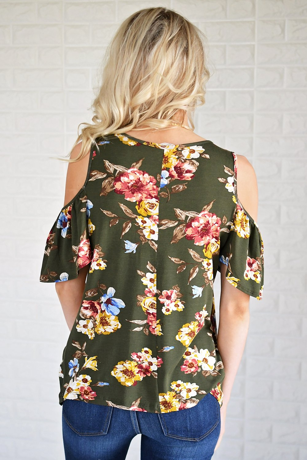 Garden Floral Cold Shoulder Top
