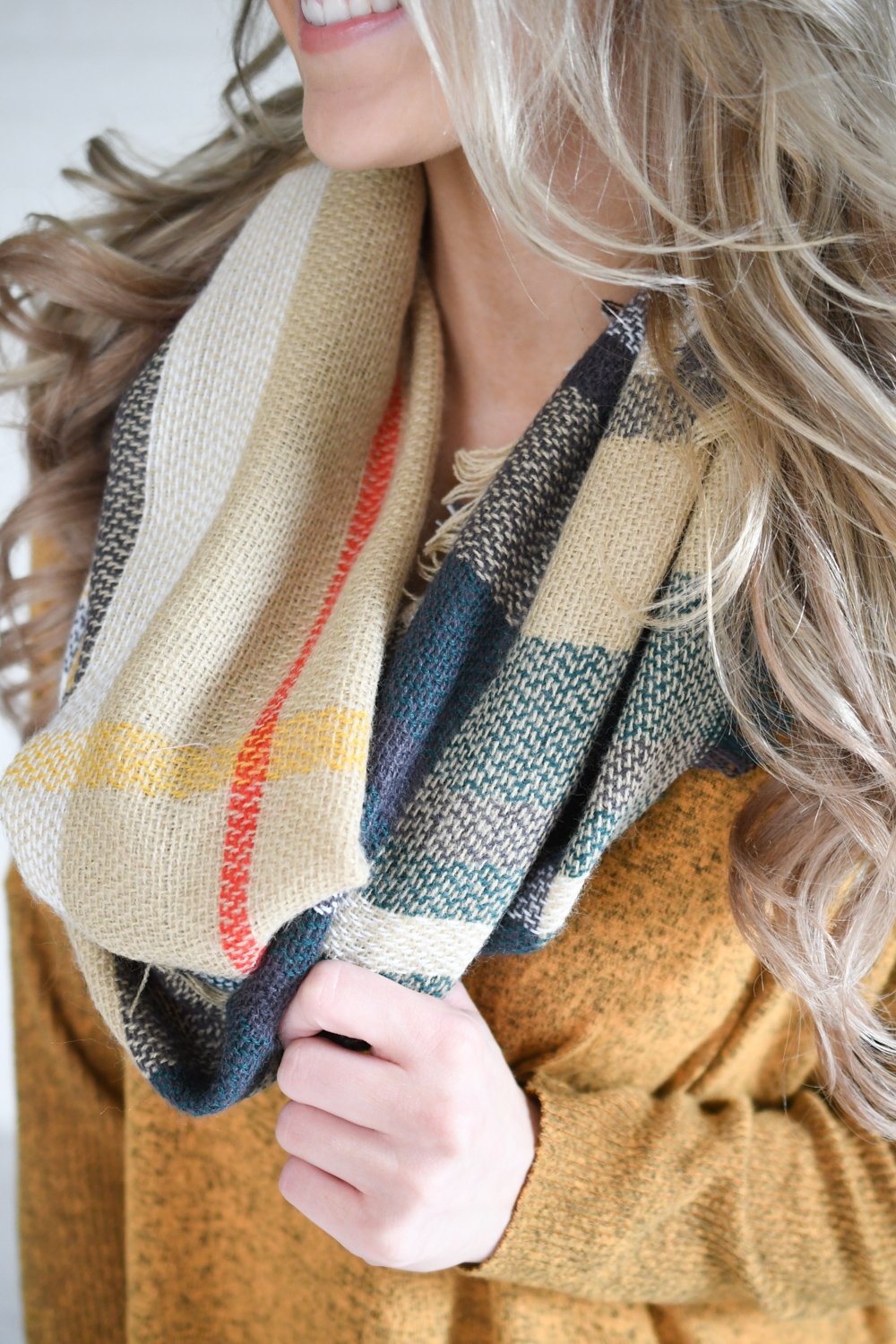 Pine Amp Camel Plaid Infinity Scarf The Pulse Boutique