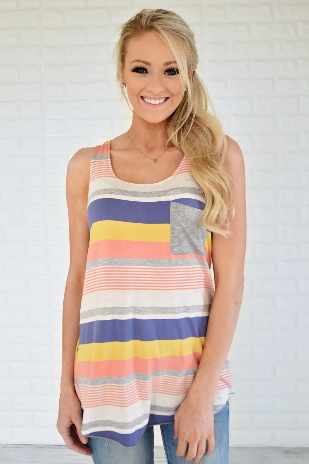 Summertime Love Tank Top ~ Steel Blue, Yellow & Coral