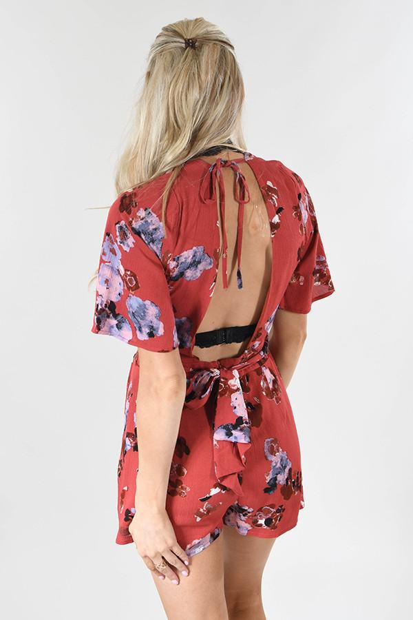 LovPosh Red Floral Romper