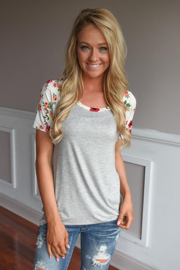 Take a Chance on Me Floral Top ~ Ivory