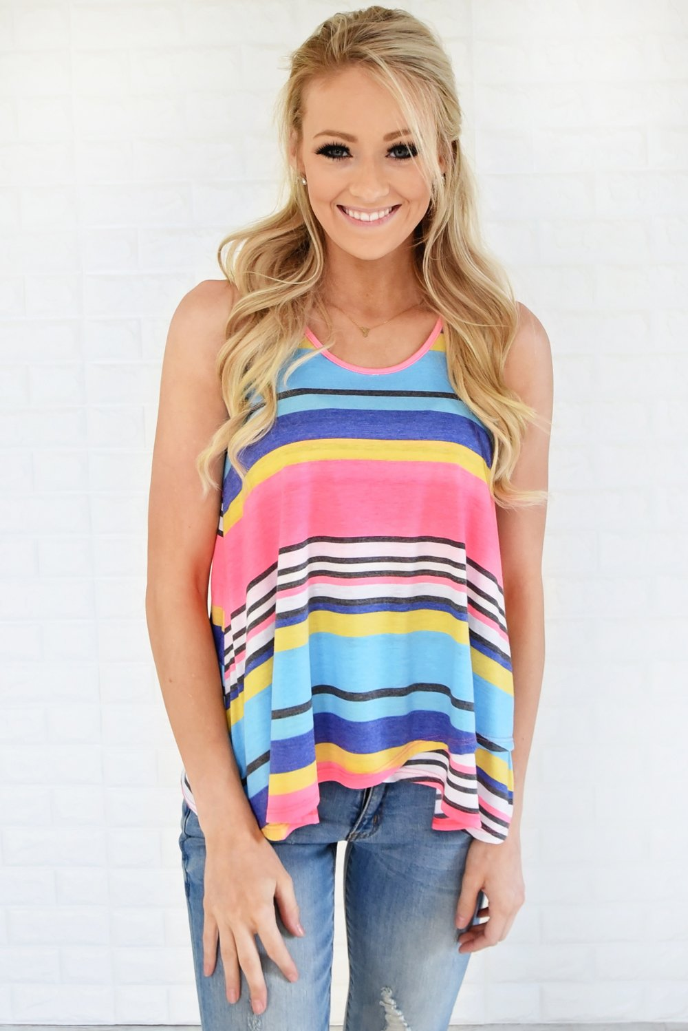 Wander On Tank Top ~ Pink, Blue & Yellow