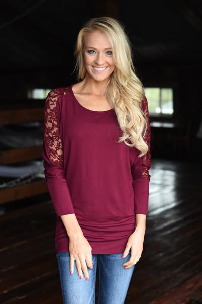 America's Sweetheart Lace Top ~ Burgundy