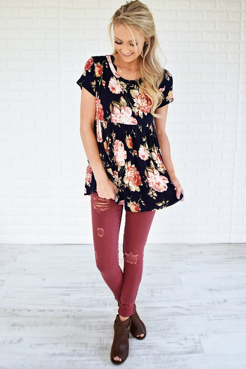 Ever After Floral Babydoll Top ~ Deep Navy