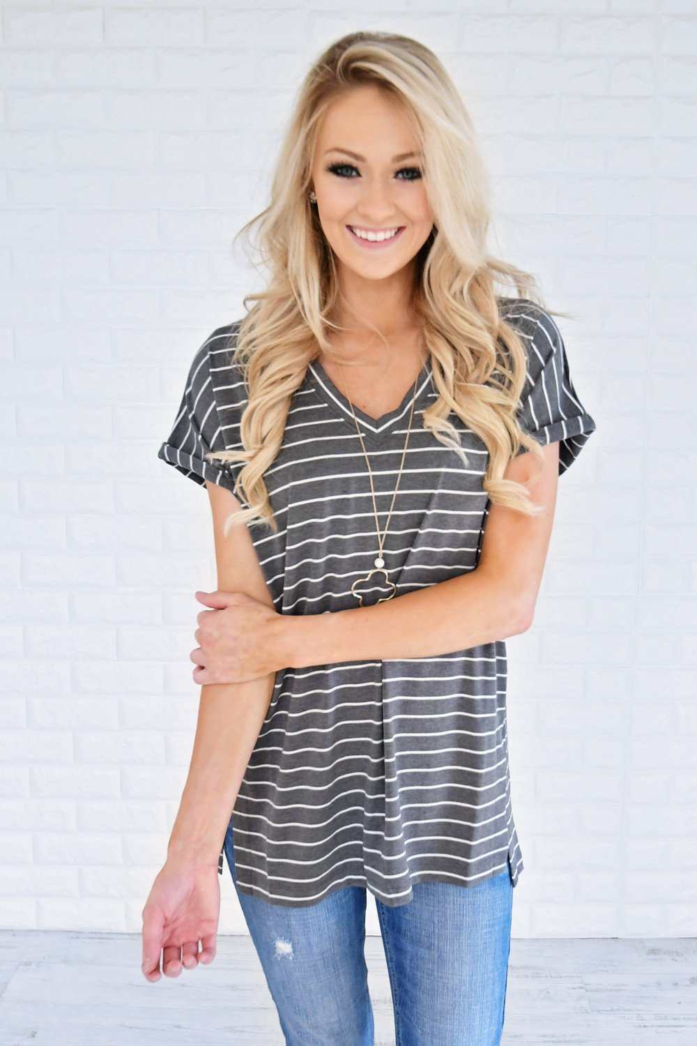 Blurred Lines Striped Top ~ Grey