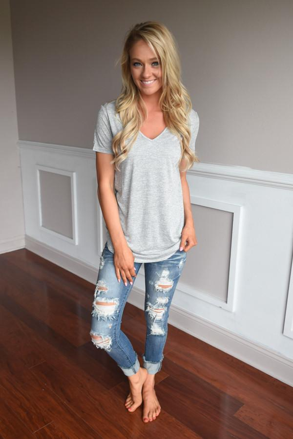 Simplicity V-Neck Top ~ Grey