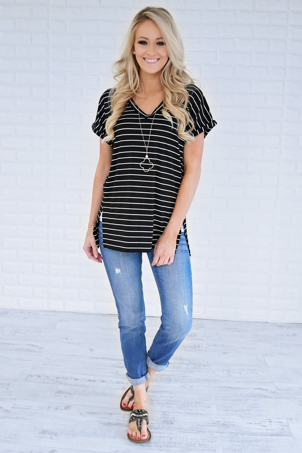 Blurred Lines Striped Top ~ Black
