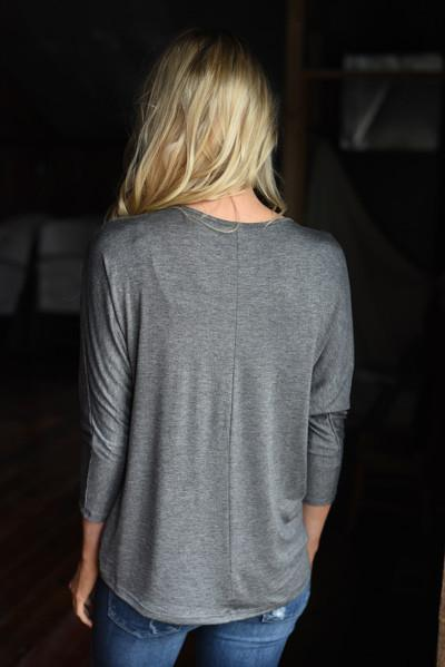 Glam Pocket Top - Charcoal