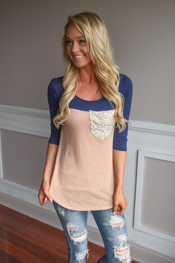Navy & Peach Pocket Top