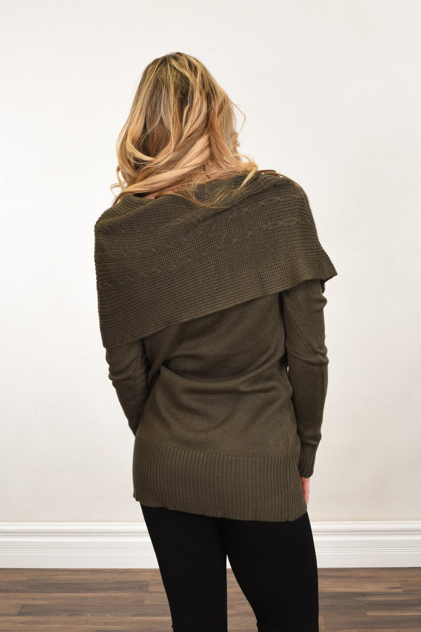 Wrapped Up in You Sweater ~ Olive