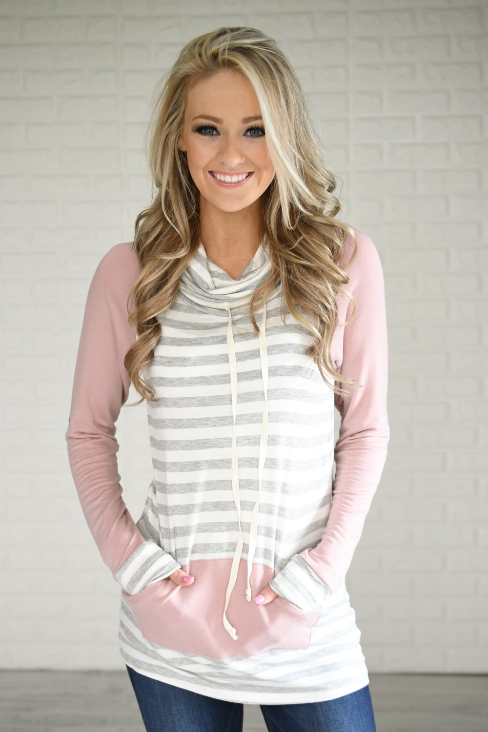 Blush & Stripes Cowl Neck Top