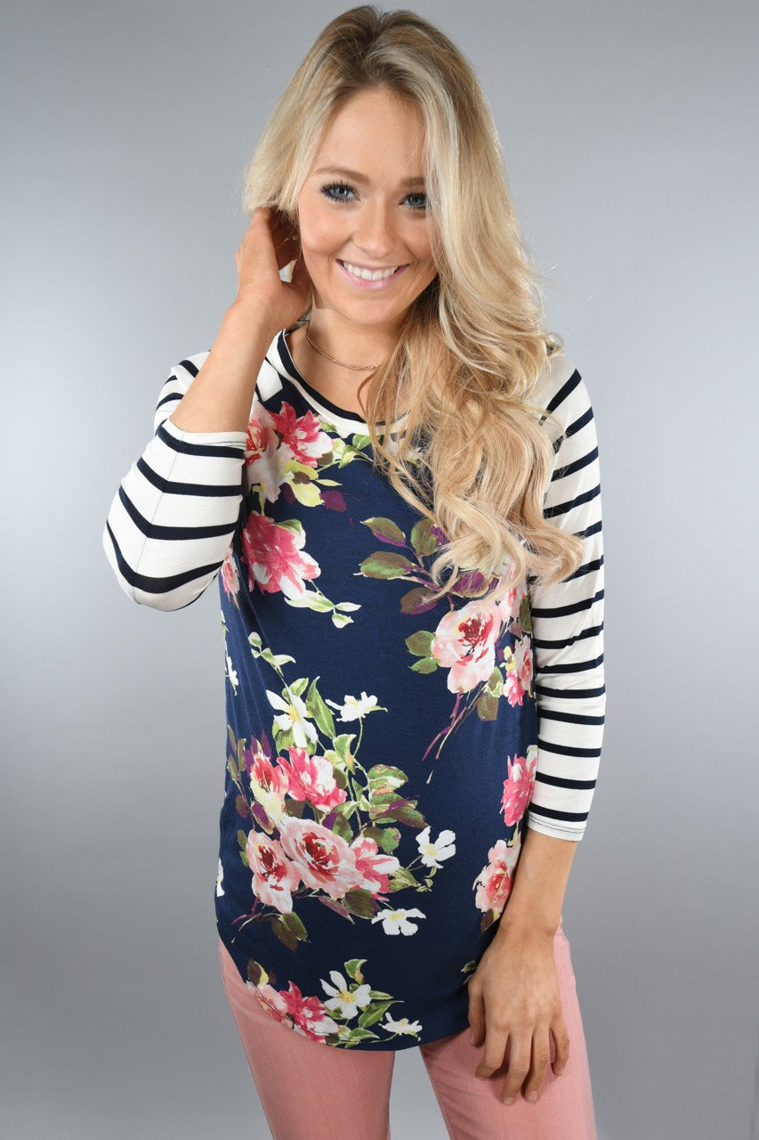 Navy Floral And Stripes Top