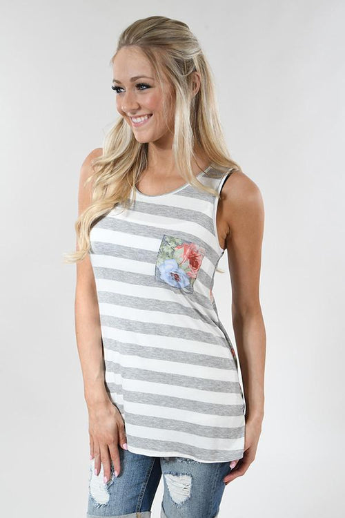 Get the Feeling Floral and Stripes Tank Top