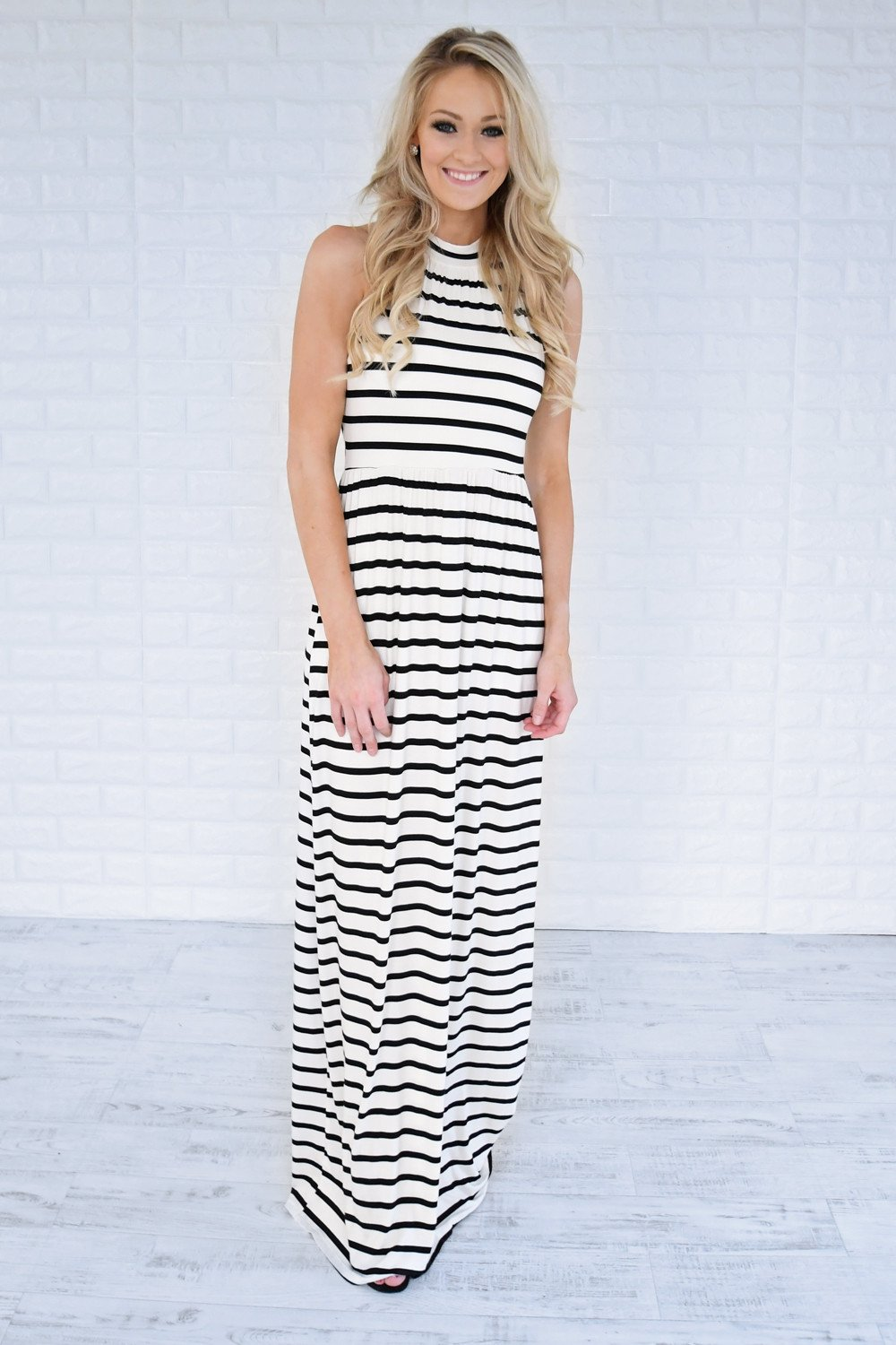 Draw the Line Striped Maxi Dress