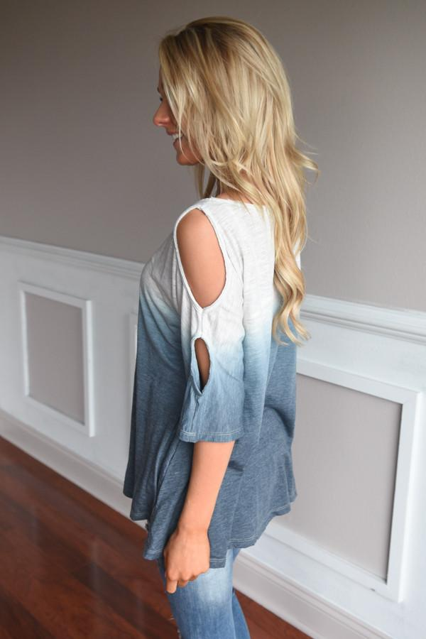 Two Tone Ombre Top ~ Blue