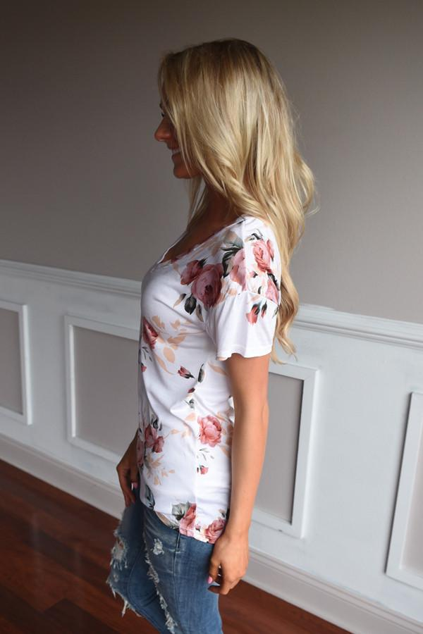 Go To Floral V-Neck ~ Dusty Coral