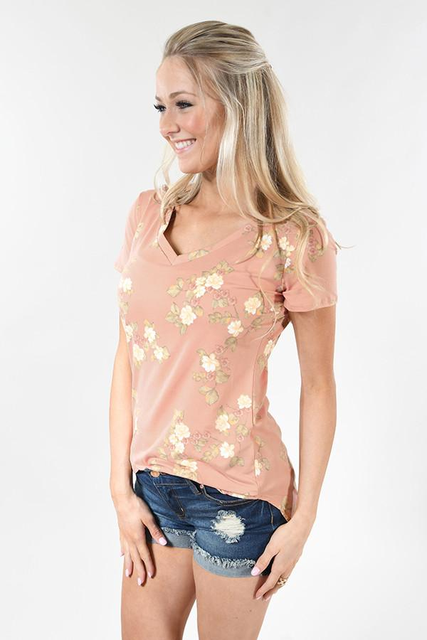 Little Floral Loves Top ~ Apricot