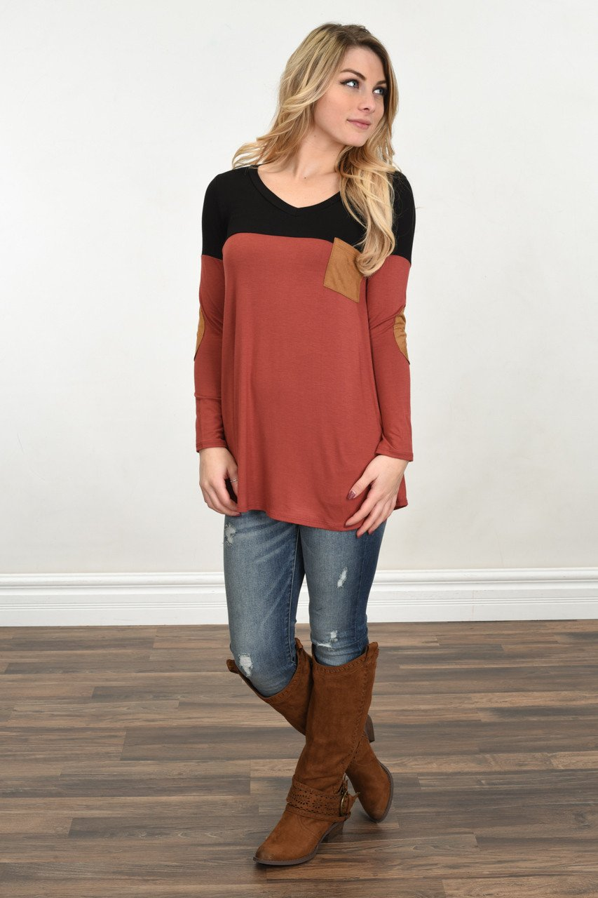 Suede Pocket Top ~ Rust